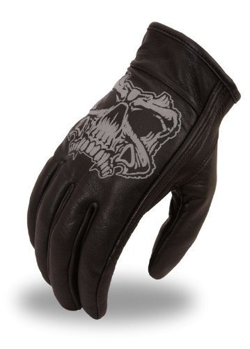Mens Reflective Skull Leather - Men's Leather Motorcycle Glove w/ Reflective Skull Design & Gel Palm (XX-Large)