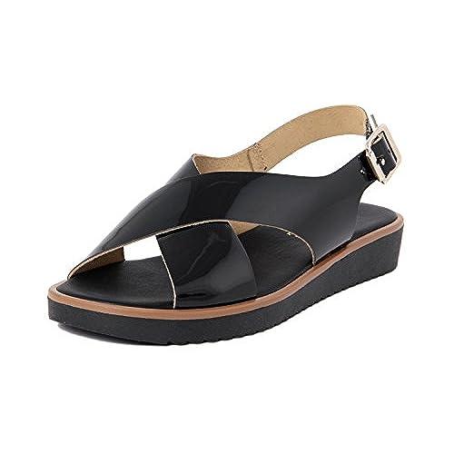 RI-BELLE - FEMME - T395_145839_BLK - sandale en cuir well-wreapped
