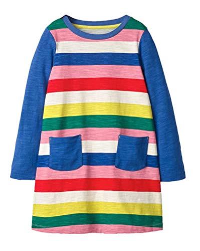 HILEELANG Toddler Girl Dress Stripe Long Sleeve Autumn Winter Cotton Basic Dress 1-7 Year (Cotton Jersey Rainbow)