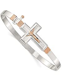 Sterling Silver 14k Rose Gold Accent Cross Crucifix Bangle Bracelet
