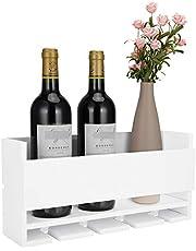 Vencipo Biały montowany na ścianie stojak na wino na 4 kieliszki do czerwonego wina, drewniany uchwyt na butelkę wina do wiejskiego wystroju kuchni, pływający organizer na półkę na wino do ekspozycji w salonie.