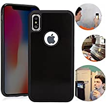 iPhone X case,Anti Gravity Phone Case Magic Nano Sticky Goat Case for iPhone 10 iPhone X Suction stick on the wall selfie Case with dust proof film