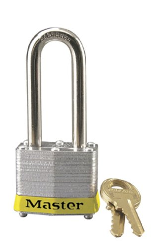 Master Lock 3LHYLW Laminated Steel Padlock with Yellow Bumper and 9/32'' x 2'' Shackle (Pack of 1) by Master Lock (Image #1)