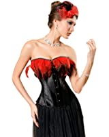 MUKA Burlesque Feather Black Fashion Corset Bustier, Gift Idea
