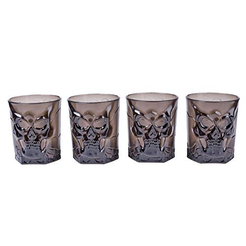 4 Pack Dead Man Plastic Halloween Decorations Cup Novelty Skull 4 Inch Tumbler Mug Black Plastic Party Supplies Beer Coffee Mugs Stein Set -