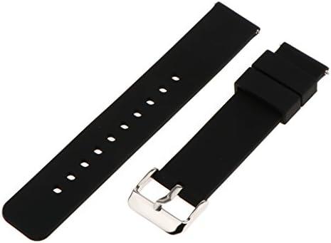 時計ベルト 交換用 腕時計ストラップ 交換用バンド 耐久性 防水性 柔軟性 全6色2サイズ - ブラック, 18mm