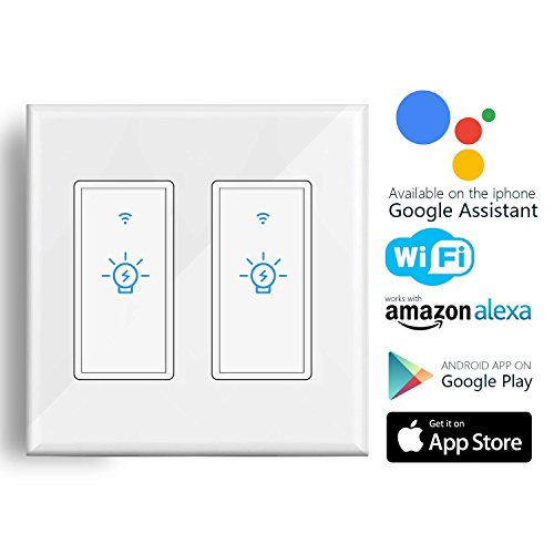Smart WiFi Light Switch, Alexa Wall Smart Switch Phone Remote Control Wireless Touch Switch Compatible with Alexa, Google Home, Timing Function, Overload Protection, No Hub Required (2 Pack)