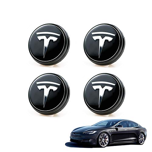 4 PCS Tesla Model 3 Car Aero Wheel Logo Center Hub Cap Cover Modification, Emblem LED Light Magnetic Levitation Waterproof,Special Tire Center Lamp Lighting Modified Accessories for Model 3(BlueLight)