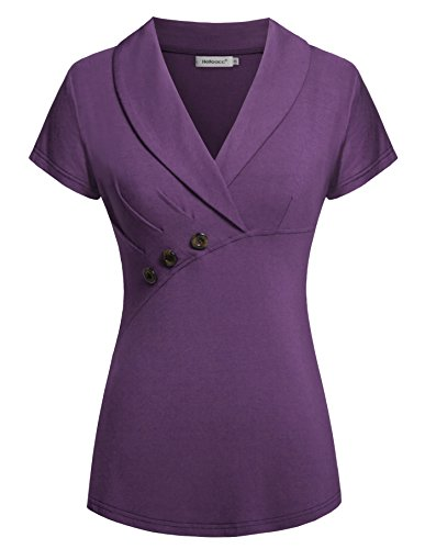(Helloacc Ladies Blouse Short Sleeve, Summer Women Casual Lovely V Neck Easy Fit Career Flattering Button Trim Shirts Elegant Chic Tunic Tops to Wear with Leggings Purple L)
