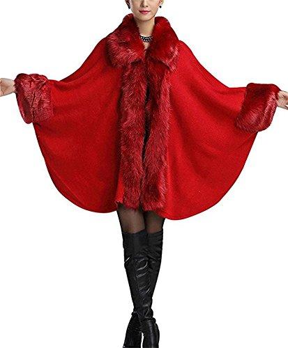 Fur FOLOBE Faux Color Bufanda Chal Cuff Cabo rojo Wool del Women 2018 Capa Manto Fox con oscuro trTrw