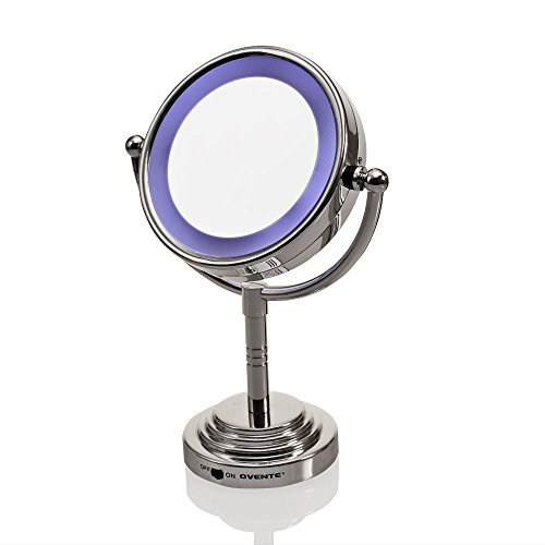 Ovente MLT28C LED Battery-Operated Tabletop Vanity Mirror, 1X/5X Magnification, Chrome Ovente ...