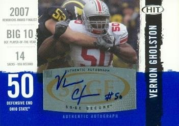 Vernon Gholston autographed Football Card (Ohio State) 2008 SAGE HIT Rookie #A50 - Football Autographed Rookie Cards ()