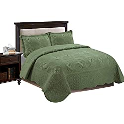 MarCielo 3-Piece Fully Quilted Embroidery Quilts Bedspreads Bed Coverlets Cover Set, Olive Green,White, Emma(Queen Size, Sage)