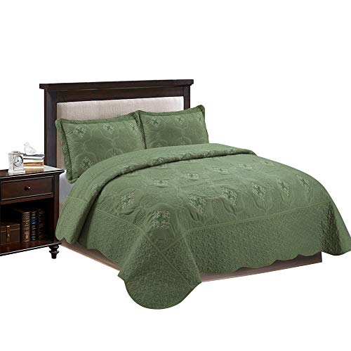 MarCielo 3-Piece Fully Quilted Embroidery Quilts Bedspreads Bed Coverlets Cover Set, Cal King Size, Olive Green, White, Emma(Oversize, Sage)