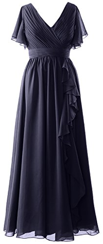 MACloth V Sleeves Short the Dunkelmarine Women Dress of Gown Formal Bride Neck Mother Evening xrBBWfwcqS