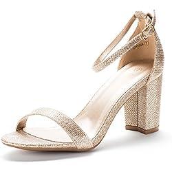 Women's Gold Glitter Block Heel Sandal