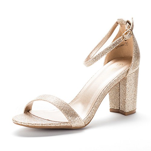(DREAM PAIRS Women's Chunk Gold Glitter Low Heel Pump Sandals - 12 M US)