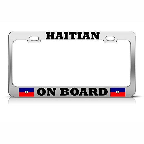 Moon Placa de matrícula con Marco de la Bandera haitiana de la ...