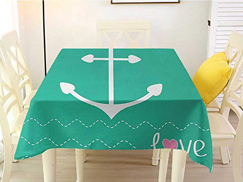 L'sWOW Square Tablecloth White Anchor Anchor Heart Shapes and Wavy Lines on The Bottom Sailor Love Valentines Day Green Pink White Waterproof 60 x 60 Inch