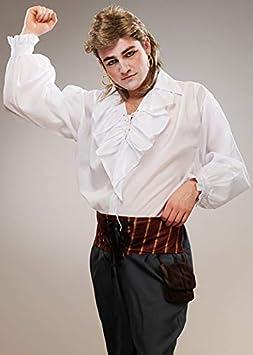 Camisa con Volantes Blanca romántica Nueva de los años 80 para Hombre Large (42-44