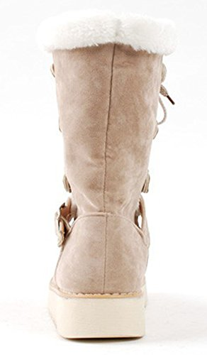 Calf Womens Booties Faux Heels Apricot Buckled Fur Mid Lined IDIFU Low Comfy Winter Lace Boots Up Snow OzqwddF