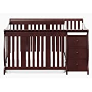 Stork Craft Portofino 4 in 1 Fixed Side Convertible Crib Changer, Cherry