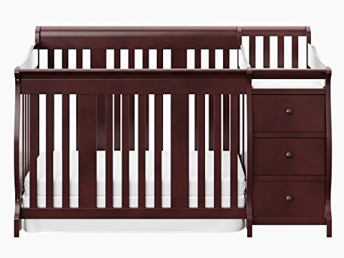 Storkcraft Portofino 4 in 1 Fixed Side Convertible Crib Changer Cherry ()