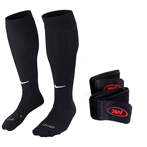 Nike Unisex Classic II Cushion Over-the-Calf Soccer Sock With Bonus Shinguard Stay (Large, Black)