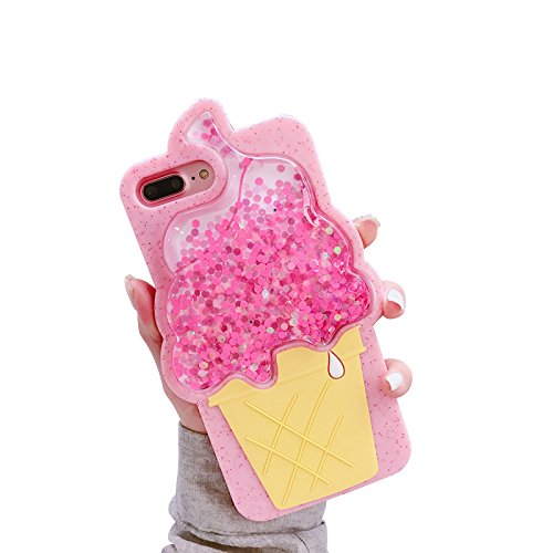 Squeeze Liquid Floating Glitter Ice Cream Cone Soft Silicone Case for iPhone 7 Plus / iPhone 8 Plus 5.5
