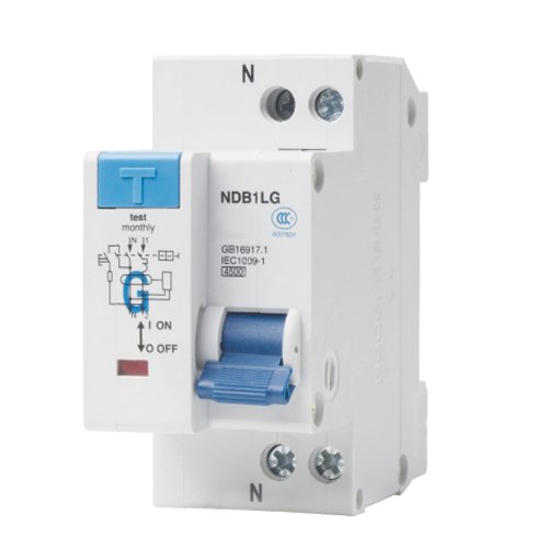 - ASI NDB1L-32C-20-120V DIN Rail Mount Ground Fault Circuit Breaker, UL 1053 Ground Fault Sensing, Leakage Current 30 mA, 20 amp, 120V