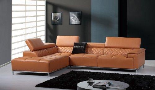 Divani Casa Citadel Modern Orange Italian Leather Sectional Sofa Orange/ Orange/Leather\Leather