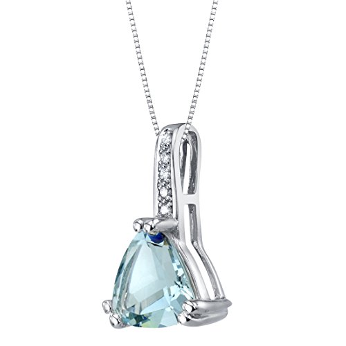 14K White Gold Genuine Aquamarine and Diamond Triad Pendant 1.50 Carats Trillion Cut