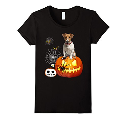 Womens Jack Russell Terrier Halloween T-Shirt XL Black (Halloween Jack Russell)