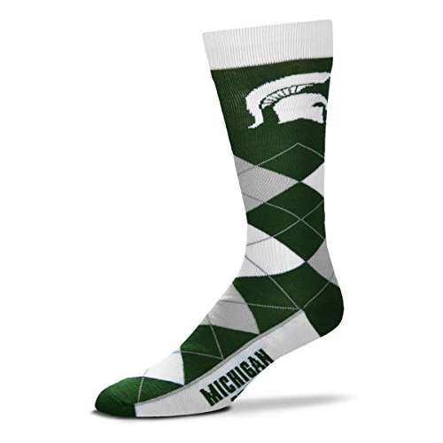 For Bare Feet NCAA Argyle Lineup Unisex Crew Dress Socks-One Size Fits Most-Michigan State Spartans (Michigan Watches Spartans State College)