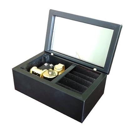 18 Note de madera caja de música viento-up Joyero con espejo y carcasa de