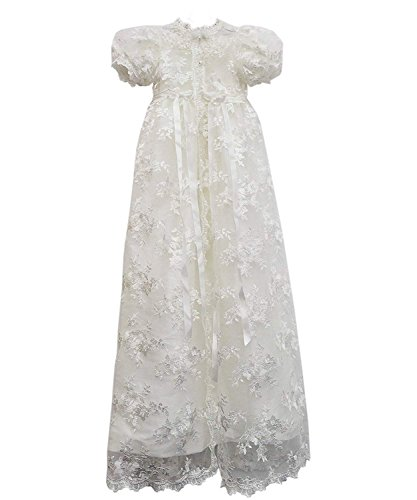 Carat Stunning Baby Lace Satin Christening Dress Baptism Gowns with Bonnet 3-24M (24M) Ivory