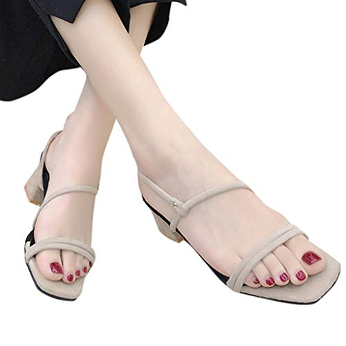 SMALLE ◕‿◕ Hot Women Heels Shoes,Casual Simple Fashion Style Square Heels Shoes Open Toe Elastic Band Sandals Khaki