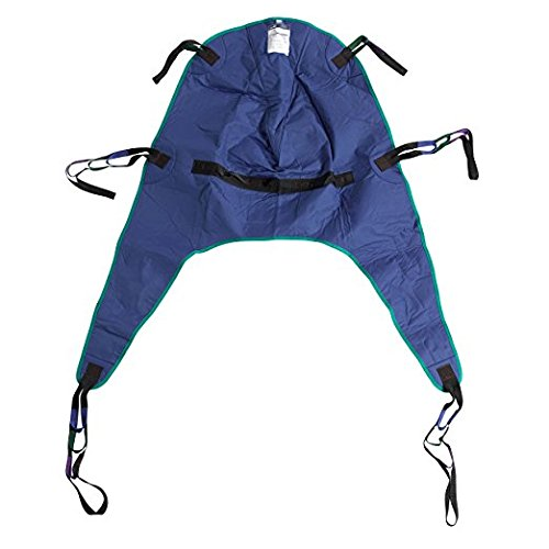 Leg Sling - Drive Medical Divided Leg Patient Lift Sling with Headrest, Blue, Medium