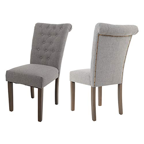 Merax Classic Upholstered Fabric Cushion Seat Dining Chairs with Solid Wood Legs for Living Room Chairs Set of 2 (Light Gray)