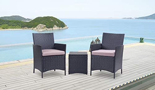 Kailua Furniture LULU Chic Outdoor All-Weather Wicker 3 Piece Set Bistro Chair, Side Table, Removable UV-Resistant Cushions Black Taupe