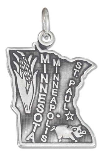 Charm Minnesota Sterling Silver State - Sterling Silver Antiqued Minnesota State Charm