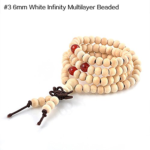 Wintefei Unisex Vintage Lion Head Buddha Leaf Tassels Beaded Stretch Lucky Bracelet - #3 6mm White Infinity Multilayer Beaded