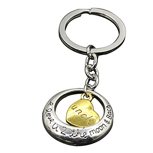 Keychains Bulk Family Key Ring I Love You to The Moon and Back for Dad Mom Daughter Son Sister Brother Grandma Grandpa Aunt Uncle Gift (Uncle)