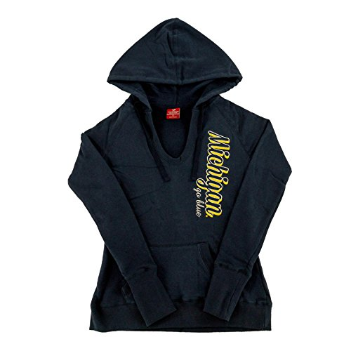 Down Womens Raglan Hoodie (Michigan Wolverines Colosseum Navy V-Neck Raglan Fleece Hoodie (Womens XL))