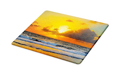 (Ambesonne Ocean Cutting Board, Morning at The Beach in Brazil The Sun Rays Through The Clouds Over Sea Sunset Image, Decorative Tempered Glass Cutting and Serving Board, Large Size, Orange)