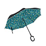 senya Double Layer Inverted Umbrellas Cute Meteor Stars Pattern Folding Umbrella Windproof UV Protection for Car Use Rain Outdoor With C-Shaped Handle