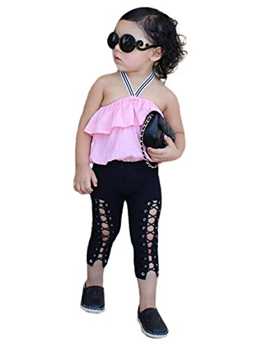 Halter Tie Denim (Urkuteba 3pcs Baby Kids Girls Sleeveless Halter Ruffle Tops+ Hole Cut Bandage Tie Jeans Pants Outfit 1-6T (5-6 Years, Pink))