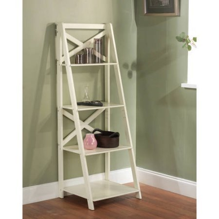 X 4-Tier Shelf, Multiple Finishes, Ladder Shelf with 4 Tiers Open Storage Space, Classic X-Design, Leaning Ladder Bookcase, Made Of Wood, Indoor Furniture, Home Furniture, BONUS e-book (Antique White)