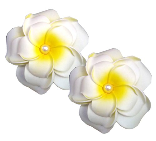 Geoot Life-Like 3 layer Foam White Flowers Hair Barrette (2 flower)