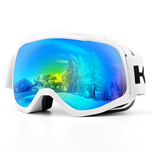 Kids Ski Goggles, UV Protection Anti-Fog Detachable Lens Snowboard Goggles with Wide Angle for 6-18 Year Old Children (Kids White (Child Ski Goggles)